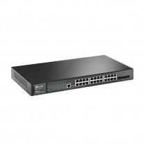 JetStream 24-портовый 10/100/1000 Мбит/с (разъём RJ45)гигабитный управляемый коммутатор 2+ уровня с 4 SFP‑слотамиTP-LINK T2600G-28TS-DC