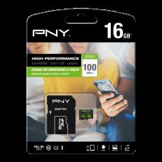Карта памяти PNY microSDHC Class 10 UHS-I 16GB + SD adapte