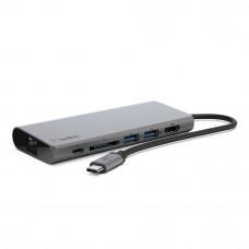 Концентратор Belkin Travel Hub USB-C PD, USB-C, 2/USB 3.0, HDMI, Gigabit, space gray (F4U092btSGY)