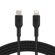 Кабель Belkin BRAIDED Cable  Lightning - USB-С, 1m, PVC, black (CAA004BT1MBK)